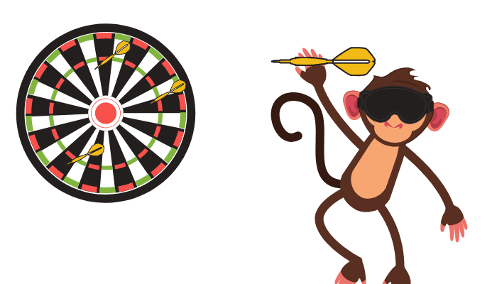 Blindfolded Ape Throwing Darts - Hostel Marketing