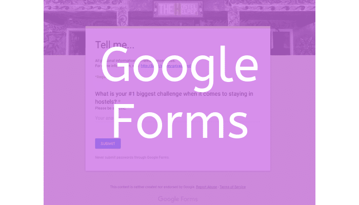 Google Forms Survey - Target Market Research