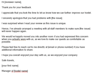 Response To Online Review - Hostel Template