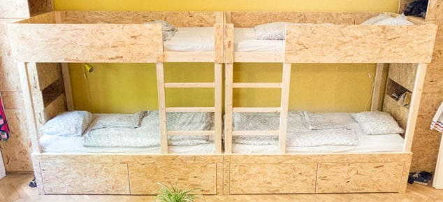 Self-made hostel bunk bed