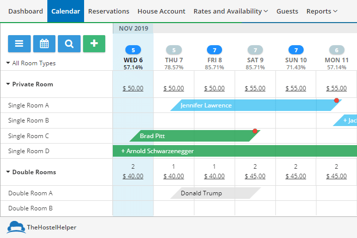 Cloudbeds Property Management System Calendar